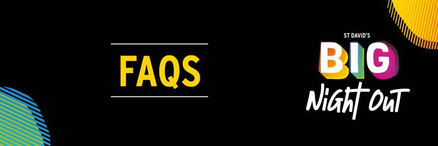 Banner with 'FAQS' in yellow text on a black background