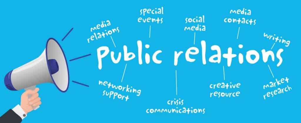 Blue background with someone holding a megaphone blasting out the words 'public relations' with offshoots with phrases like 'media relations' and 'social media'