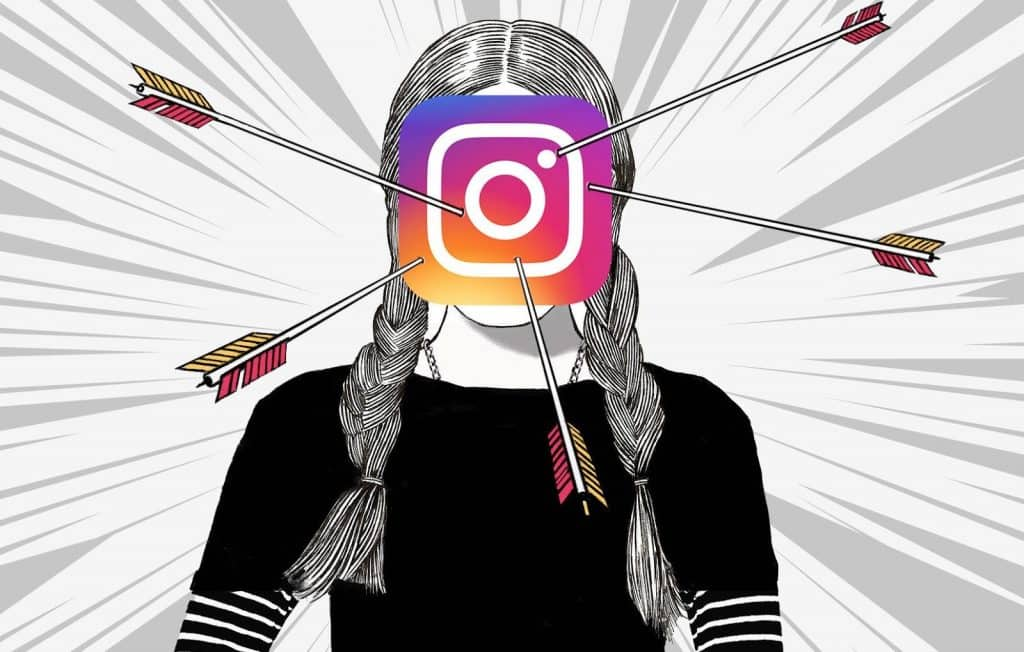 Cancel Culture cartoon with a girl with pigtails with an Instagram logo over her face with arrows sticking out of it