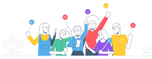 Cartoon of thinly-drawn people wearing brightly coloured clothing holding up paddles with love heart and thumbs up or down emojis on them