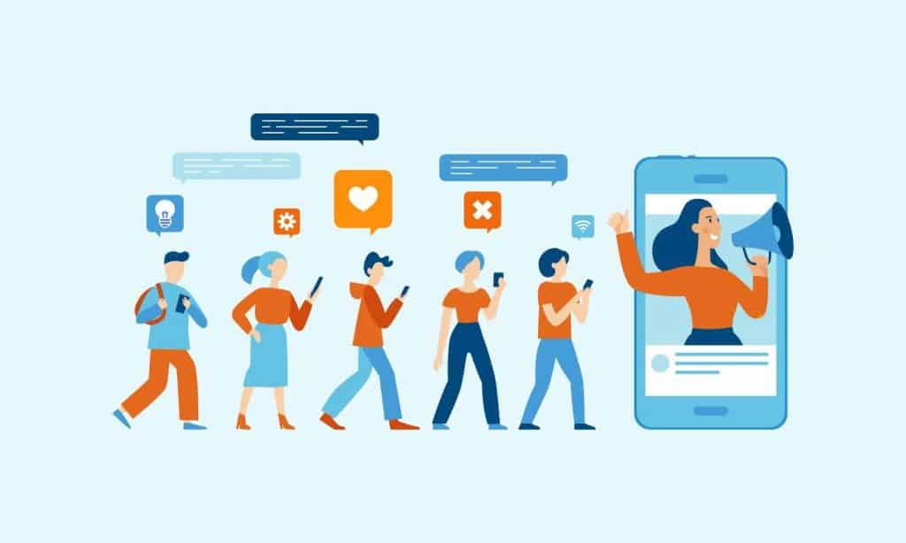 Cartoon on a blue background of four people walking along in a line looking at their phones with social media icons and then a woman with a megaphone coming out of a phone