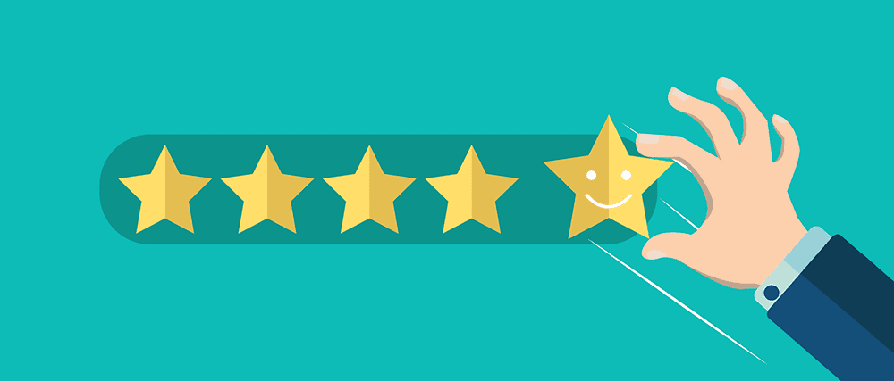 Cartoon on a green background of a hand putting down a smiling star to make up a five star review