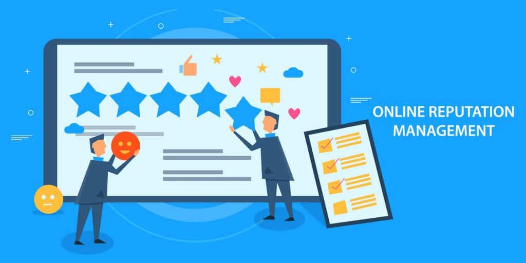 Cartoon with 'online reputation management' with two people holding star and smiley emojis with a tick box next to them on a blue background