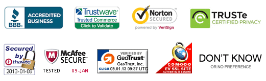 Examples of association and trust badges like Norton and McAfee