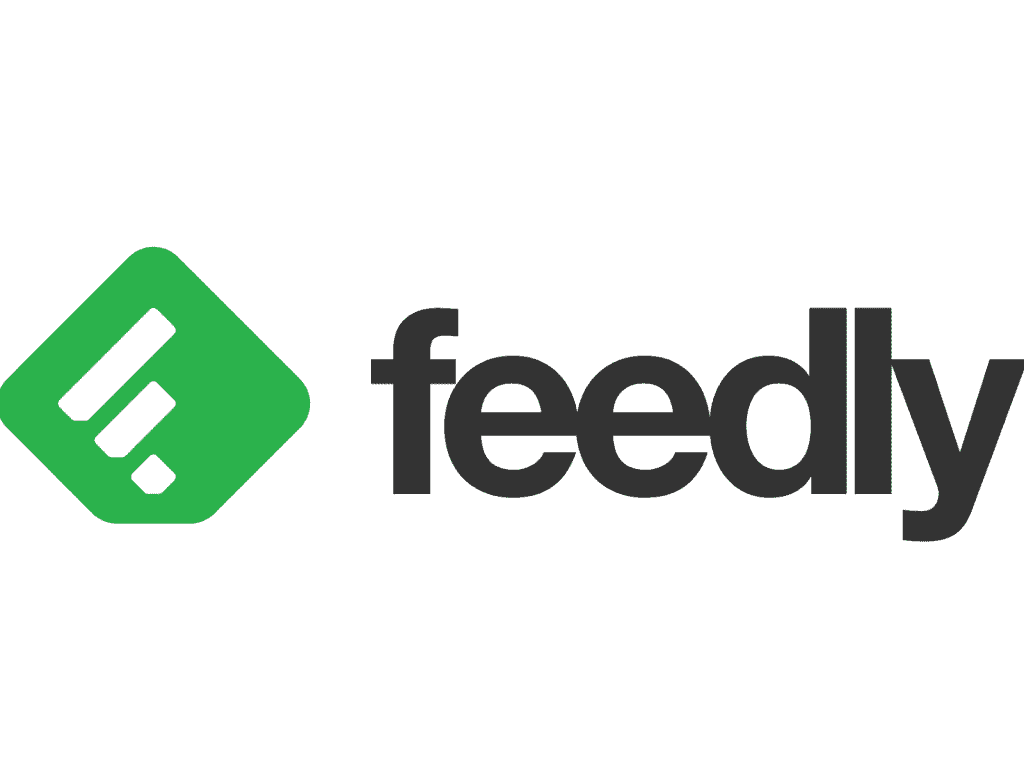 feedly logo in black on a white background with a green square tilted on its side
