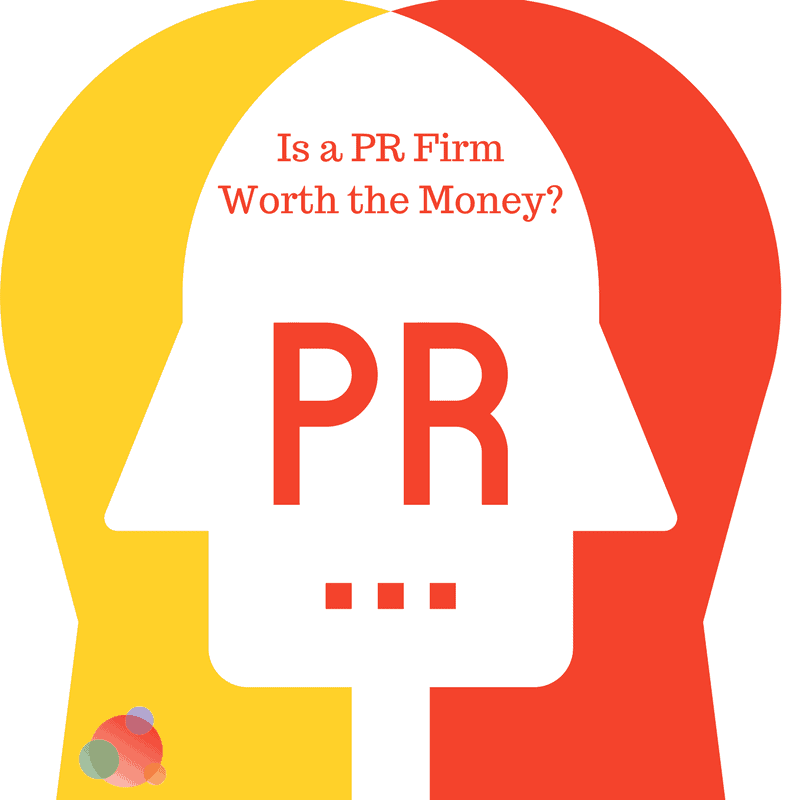 Text with Is a PR firm worth the money? and a yellow-orange arch
